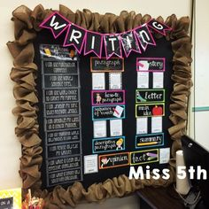 Interactive Writing Center - I love the burlap with the black, white, and bright colors! Photo Courtesy of Miss 5th's Blog / Product Created by Joey Udovich