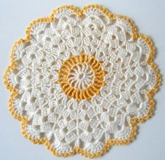 "Watch Maggie review this pretty Vintage Blue & Yellow Potholder Crochet Patterns! Design by: Maggie Weldon Skill Level: Intermediate Sizes:Shells in the Round - About 7"" diameter Yellow & White Dress"