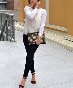 Casual Dressy Work White Sweater Black Pants Black Heels  pin attire