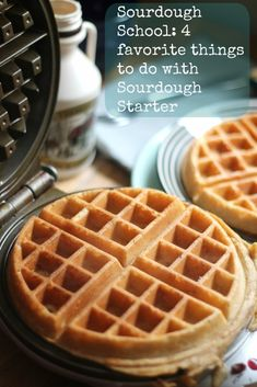 4 ways to use sourdough starter Sourdough Waffles, sourdough pancakes, sourdough crepes and sourdough pizza crust - pizza Sourdough Pancakes, Sourdough Pizza, Pancakes And Waffles, Waffle Recipes, Bread Recipes, Cooking Recipes, Starter Recipes, Sourdough Recipes Starter, Snacks Saludables