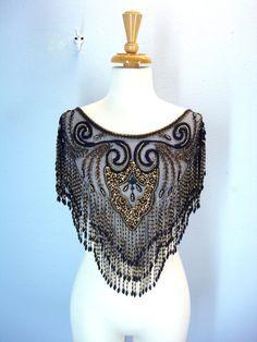 Vintage Beaded Collar / Heavy Black Gold Collar / Beaded Shawl