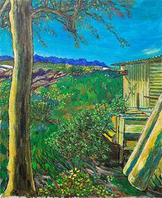 Paisaje con caseta y dos troncos es un óleo sobre lienzo de lino Claessens de grano fino con imprimación al óleo de 50 x 41 cm.
