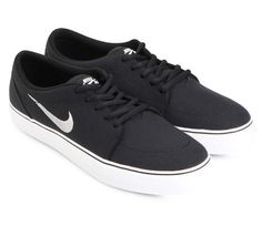 Satire Canvas Sneaker Shoes by Nike. The classic skate shoes, with a vulcanizes construction, made of canvas, with classic metallic silver black color, autoclave construction, gum sole rubber, a perfect sneakers for skate or for hang out. imeless style with superb grip http://www.zocko.com/z/JImKL