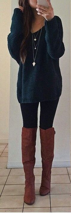 #cute #outfits V-neck Blue Sweater // Black Leggings // Camel Over The Knee Boots