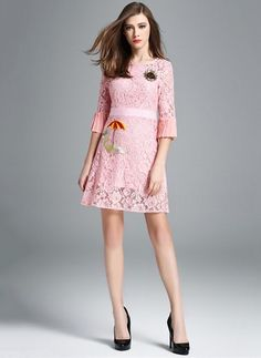 Lace Character Half Sleeve Above Knee Cute Dresses