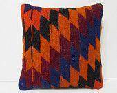 HAND WOVEN blue pillow sham red pillow cover orange pillow case chevron accent pillow zigzag decorative pillow geometric kilim pillow 18977