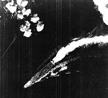 Pacific War - japanese Imperial Hiryu under attack by B-17 Flying Fortress heavy bombers