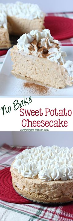 No Bake Sweet Potato Cheesecake - This Cheesecake is so easy, creamy, and decadent! You'd never know it was a no bake cheesecake. Brownie Desserts, Oreo Dessert, Mini Desserts, Coconut Dessert, No Bake Desserts, Baking Desserts, Sweet Desserts, Sweet Potato Cheesecake, Cheesecake Recipes
