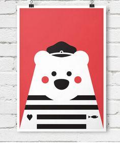 Retro nautical poster bear captain pirate animals by EmuDesigns