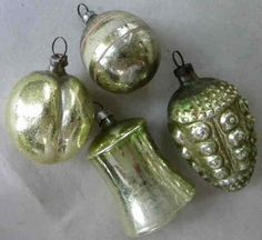 4 Old Sage Chartreuse Mercury Blown Glass Ornaments Bell Plum Antique German | eBay