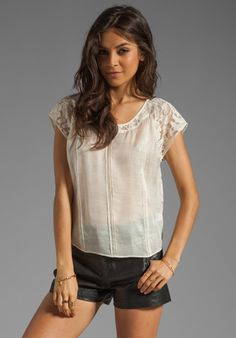 BEYOND VINTAGE Pintuck Lace Back Shirt in Ivory
