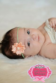 Mint twine Halo/Tie Back Headband with Peach Flower, Newborn Tieback,Baby, Girl, Headband, Photography Prop