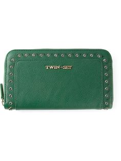 223aafb64 Garden green scalloped trim purse from Twin-Set featuring a gold-tone logo  plaque, a zip fastening, multiple card slots, a note compartment and an  internal ...