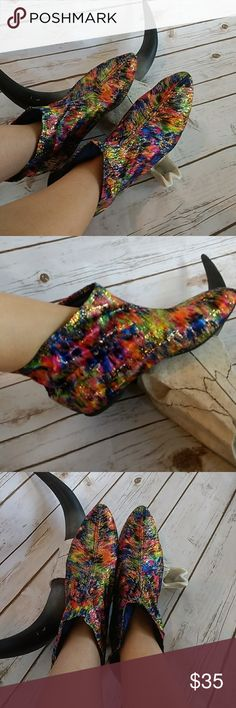 Awesome 80s lurex pixie boots These are so cool! Very unique and love the crazy colors and metalic thred. Inside is lined with satin so they are very comfortable. Look like they have never been worn. Vintage Shoes Ankle Boots & Booties