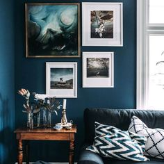 Cool blues like cobalt, turquoise and ice blue, have yellow in them and tend to recede, which can help make a small space appear bigger. Living Room Decor Brown Couch, Color Inspiration, Colour Schemes, Gallery Wall, Color Palettes, Color Schemes, Color Combinations