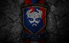 Download wallpapers Caen, logo, Stade Malherbe Caen, art, Liga 1, SM Caen, soccer, football club, Ligue 1, grunge, Caen FC