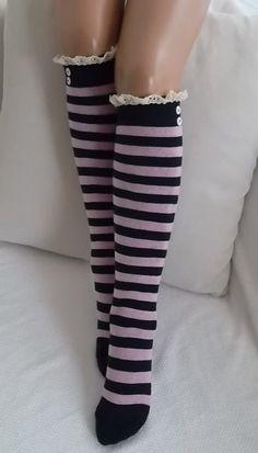 Pink Stripe Socks-Boot socks boot cuffsleg warmers machine knit lace trim and button Christmas Gift