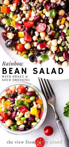 Rainbow Bean Salad with Sweet and Sour Dressing ~ a healthy high fiber bean salad for your next potluck table. It's grandma's bean salad ~ but better! # Easy Recipes for potluck Rainbow Bean Salad with Sweet and Sour Dressing Bean Salad Recipes, Healthy Salad Recipes, Vegetarian Recipes, Healthy Potluck, Bean Salad Vegan, Potluck Salad, Vegetarian Salad, Lentil Salad, Vegan Bean Recipes