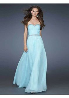 A-line Sweetheart Chiffon Blue Long Prom Dresses/Evening Dress With Beading #FC532