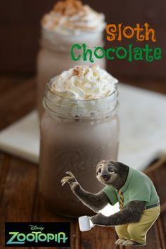 This delicious Zootopia Sloth Chocolate Recipe is flavored with cinnamon and a tiny pinch of cayenne pepper - similar to the chocolate served in the sloth's ancestral lands of Central America! Disney Drinks, Disney Food, Disney Parties, Disney Cars, Food Themes, Party Themes, Party Ideas, Theme Ideas, 10th Birthday Parties