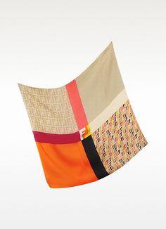 Fendi Technicolor Satin Silk Square Scarf