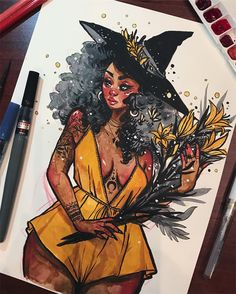 Inktober day 14 // Yellow Lily Today's inktober is brought to you from the hotel lounge I had a lot of fun with this one, I hardly ever use yellow in any of my work (I have printer ink cartridges to prove it haha) but it is a beautiful color paired with blacks and greys! Today I used: My skin tone watercolor palette (you can watch me make it on my YouTube link in bio) kuretake menso brush, pentel brush pen and aquash light black pen, micron pen, prismacolor verithin pencil, and uniball ...