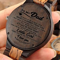 Great Gifts For Dad – Engraved Wooden Watch // Zebrawood + Ebony – Forever Love Gifts Great Gifts For Dad, Perfect Gift For Dad, Love Gifts, Gifts For Husband, Dad Gifts, Daughter Love Quotes, Love Quotes For Her, Dear Dad, Dad Quotes