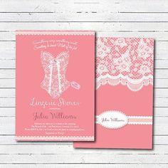 Lingerie shower invitation. Elegant lace corset. by CrazyLime