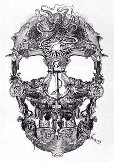 Skull anchor octopus drawing art