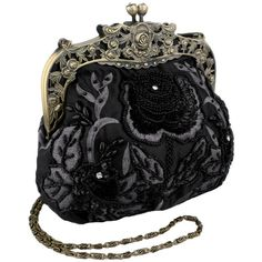 Antique Beaded Rose Evening Handbag, Clasp Purse Clutch w/Removable Chain: Clothing
