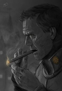 "Sam Vimes from ""Discworld"" (by Zhorez1321 on DeviantArt) Here's to bad-a$$ed upright citizenship. Whatever it is, he's going to do it the hard way and it's going to be hilarious and grudgingly inspiring. His desk looks like my desk."