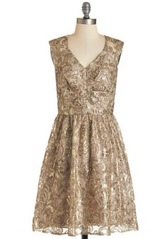 Twinkling at Twilight Dress in Champagne. Though your path is lit only by flickering streetlamps, the gold sequins of your champagne dress twinkle as if showered in spotlights! #gold #prom #wedding #bridesmaid #modcloth