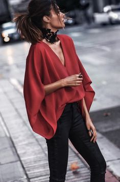 #Red Draping #Top With #highwaist #black #jeans #summeroutfit #womenfashion2018 #summer #summer2018