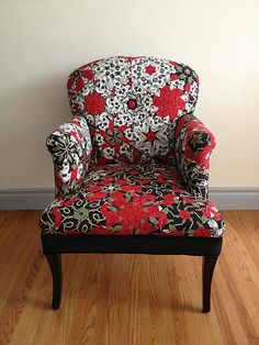 "Patchwork chair recovered with a One Block Wonder quilt by Alison Dean Cowitz. Featured at Along Came Quilting. ""The Rose Tatoo"" print by Alexander Henry Fabrics."