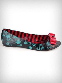 Hold Your Breath Bow Flats from Plasticland - These wickedly sweet little sailor flats are both comfy and stylish! They feature a shiny black crinkled faux leather body printed with blue Jolly Roger Skulls, Anchors, and Nautical Stars, gorgeous masthead artwork on the insoles, and peep toes topped off with red patent bows and a little black cone-stud -- $36.00