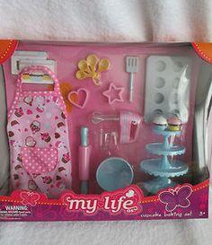 "Cupcake Baking Set Kitchen Fun 18"" Doll Fits American Girl New Apron Mixer More   eBay"