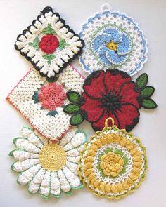 Vintage Floral Potholders Crochet Pattern PDF di Maggiescrochet