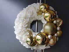Türkranz Tisch Weihnachtskranz Designer Kranz Deko Kugeln Filz weiß gold 30 | eBay