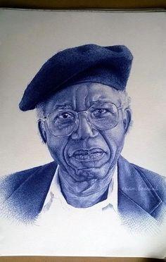 Ghana-based artist Enam Bosokah captures incredible likenesses using only a blue ballpoint pen. The stunningly-realistic portrait drawings depict world lea Biro Art, Ballpoint Pen Drawing, Amazing Drawings, Realistic Drawings, Amazing Art, Pen Illustration, Portrait Illustration, Black And White Drawing, Black Art