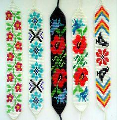 Loom Bracelet Patterns, Bead Loom Bracelets, Bead Loom Patterns, Jewelry Patterns, Beading Patterns, Bead Jewellery, Beaded Jewelry, Cross Stitch Bookmarks, Tear