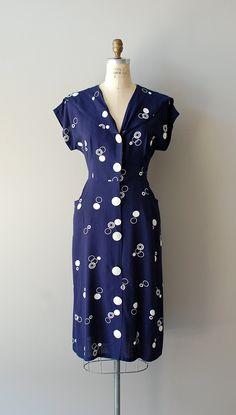 1940s dress / navy 40s dress / Action Dot dress. $148.00, via Etsy.