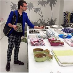 We had a visitor over the weekend! The ever so talented @csiriano passed by our shop in shop @alothmanfashion. #ecru #ecruonline #designers #christiansariano #kuwait #homewear #blockprint