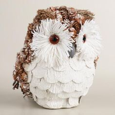 A wise and wintry addition to your holiday decor, our snowy owl is crafted of natural fiber, pinecone, twigs and paper and dusted with frosty glitter. Pine Cone Art, Pine Cone Crafts, Pine Cones, Christmas Decorations Australian, Xmas Decorations, Cheap Christmas, Christmas Crafts, Christmas Ornaments, Pinecone Owls