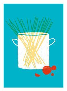 Kitchen Art Print Spaghetti Simple Italian Kitchen Art by anek