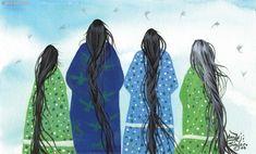 "178 ""Untitled Four Shawl Women"" Gayle Sinclaire  kK"