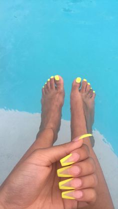 Neon Yellow Coffin Shape Acrylic Nails