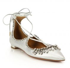 Aquazzura - Christy Crystal & Metallic Leather Lace-Up Flats Ankle Strap Flats, Pointy Toe Flats, Lace Up Flats, Metallic Flats, Metallic Leather, Leather And Lace, Comfy Wedding Shoes, Wedding Flats, Chic Wedding