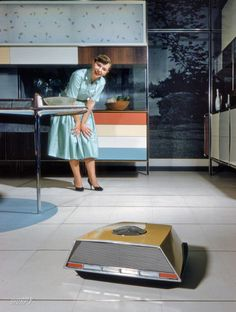 """fladner:  stuffmomnevertoldyou:  laughingsquid:  A Futuristic Robot Floor Cleaner, A Precursor to Today's Roomba (1959)  That's how I'd look at a Roomba, too: with pure DELIGHT.  """"Nothing new under the Sun."""""""