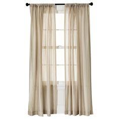 "Leno Weave Sheer Curtain Panel Tan (54""X95"") - Threshold"
