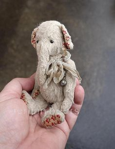 RDL: Is it just me or is there something sad and pathetic about this elephant?  Katy Miniature Viscose Elephant Artist Teddy Bear by aerlinnbears